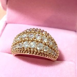 Jewelry - Fab Cocktail Ring Gold over .925 Silver size 7.5